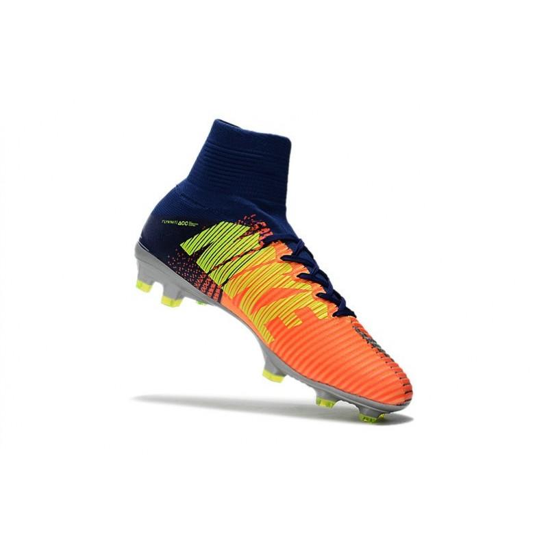 newest 980f6 1befe Nike Mercurial Superfly V FG Nouvel 2017 Crampons de Football Bleu Chrome  Orange Zoom. Précédent. Suivant