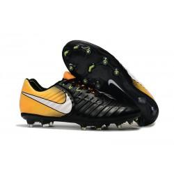Nike Crampons de Foot Tiempo Legend 7 FG Cuir - Jaune Noir Blanc