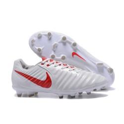 Nike Crampons de Foot Tiempo Legend 7 FG Cuir - Blanc Rouge
