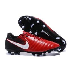 Nike Crampons de Foot Tiempo Legend 7 FG Cuir - Rouge Blanc Noir
