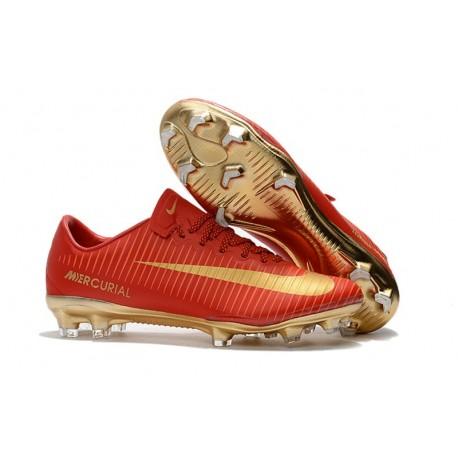 Nike Mercurial Vapor XI FG Neuf Chaussure Football Rouge Or CR7