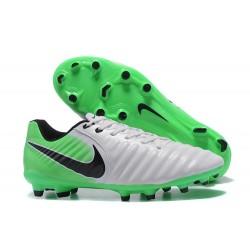 Nike Crampons de Foot Tiempo Legend 7 FG Cuir - Blanc Vert