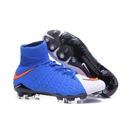 Chaussure Football Nouveaux Nike Hypervenom Phantom 3 DF FG Bleu Blanc Rouge