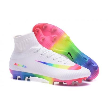 premium selection 76096 7f431 Nike Mercurial Superfly V FG Homme Crampons Football Blanc Coloré