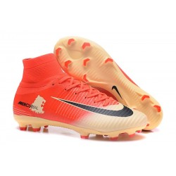 Nike Mercurial Superfly V FG Homme Crampons Football Rouge Or