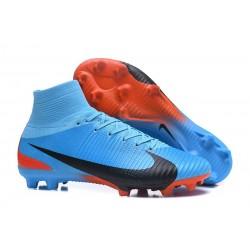 Nike Mercurial Superfly V FG Homme Crampons Football Bleu Noir