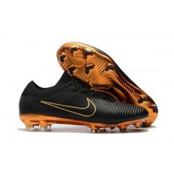 Nike Mercurial Vapor Flyknit Ultra FG Chaussures - Noir Or