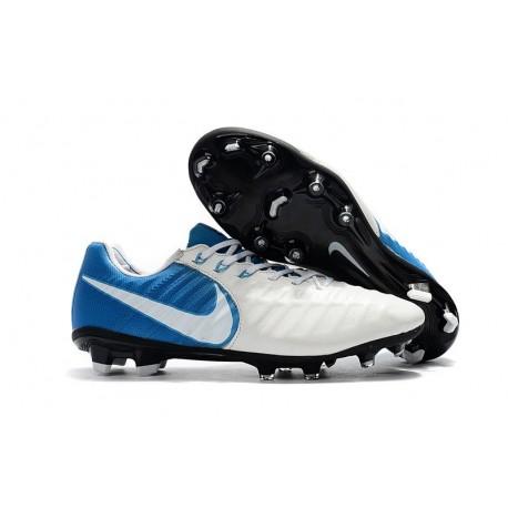 Nike Crampons de Foot Homme Tiempo Legend 7 FG - Blanc Bleu