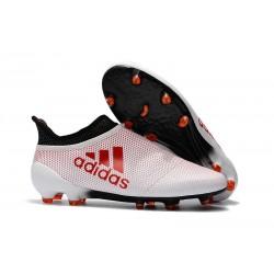 adidas Crampons de Football X17+ Purespeed FG - Blanc Rouge