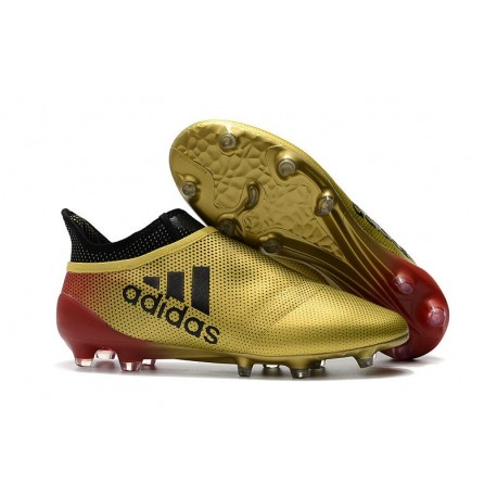 adidas Crampons de Football X17+ Purespeed FG - Or Rouge