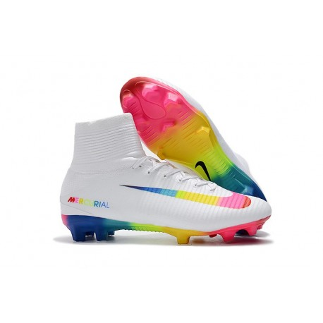 Crampons Football Nouveaux Nike Mercurial Superfly V FG - Blanc Multicolore