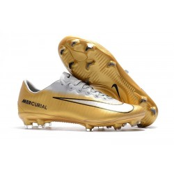 Nike Mercurial Vapor 11 FG Chaussures de Football - Or Blanc