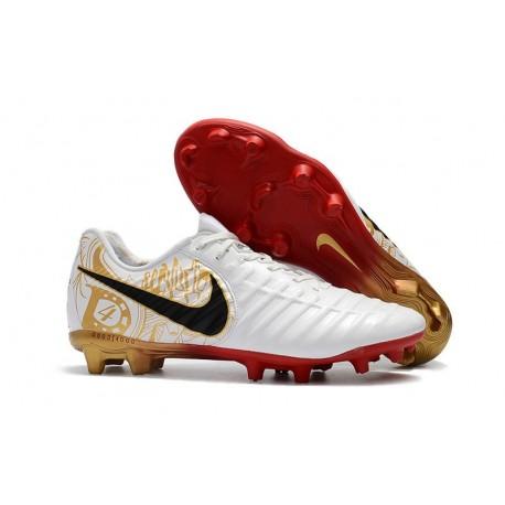 Nike Crampons de Foot Homme Tiempo Legend 7 FG - Blanc Noir Rouge