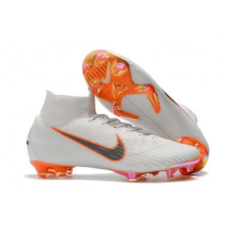 Chaussures football Nike Mercurial Superfly 360 VI Elite DF FG Blanc Orange