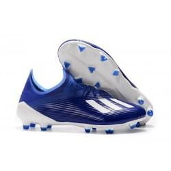 Chaussure de football à crampon adidas X 19.1 FG Bleu Blanc