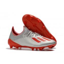 Chaussure de football à crampon adidas X 19.1 FG Argent Rouge