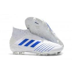 Chaussures de Foot adidas Predator 19+ FG Blanc Bleu