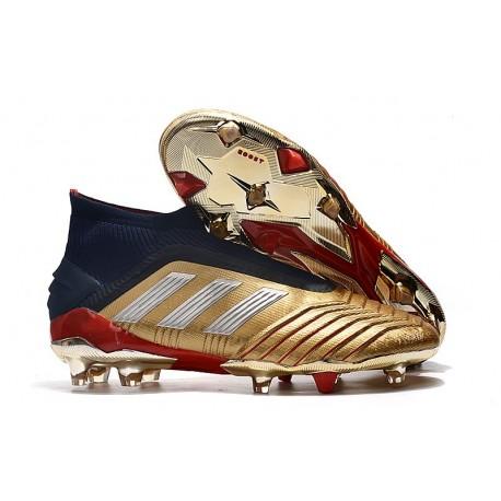Chaussures de Foot adidas Predator 19+ FG Or Argent Rouge