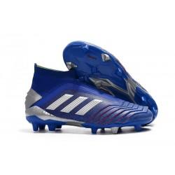 Chaussures de Foot adidas Predator 19+ FG Bleu Argent