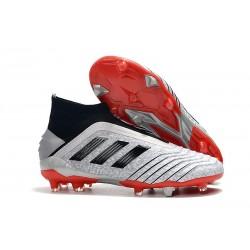 Chaussures de Foot adidas Predator 19+ FG Argent Noir Rouge