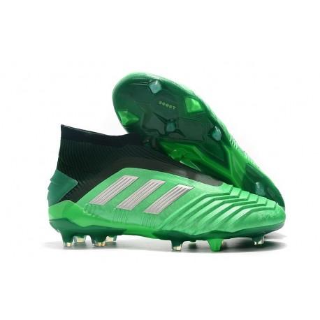 Chaussures de Foot adidas Predator 19+ FG Vert Argent