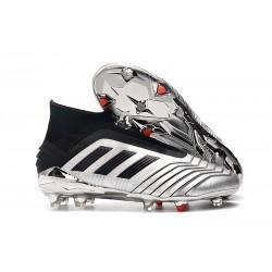 Chaussures de Foot adidas Predator 19+ FG Argent Noir
