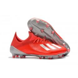Chaussure de football à crampon adidas X 19.1 FG Rouge Argent
