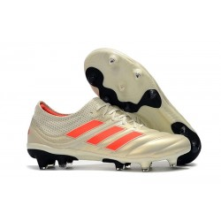Chaussures Football adidas Copa 19.1 FG Blanc Cassé Rouge Solaire