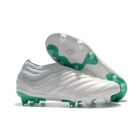 adidas Copa 19+ FG Crampons de Foot - Blanc Vert Citron