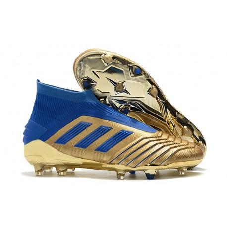 Chaussure de Foot adidas Predator 19+ FG - Or Bleu