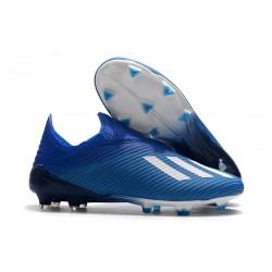 Crampons de Foot Nouvelles adidas X 19+ FG - Bleu Blanc