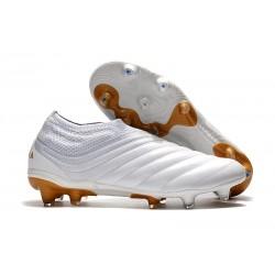 adidas Copa 19+ FG Crampons de Foot - Blanc Or