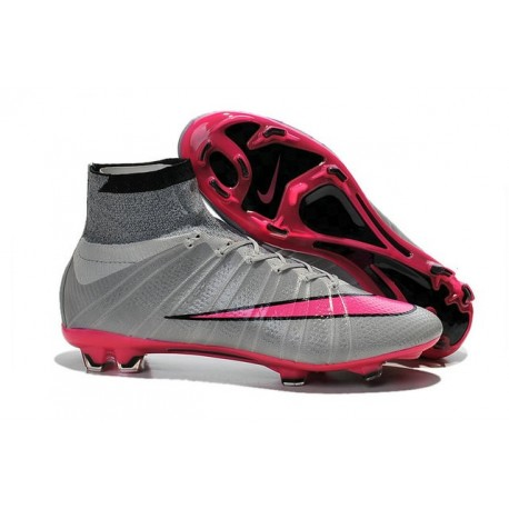 Chaussure Crampons Moulés Nike Mercurial Superfly Iv FG CR7 Gris Rose