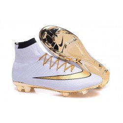 Chaussure a Crampon Cristiano Ronaldo Nike Mercurial Superfly FG Blanc Or
